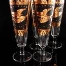 Vintage Golden Eagle goblets - vintage mid century modern - pilsner beer glasses - 24kt gold paint - fluted glass - military wedding gift