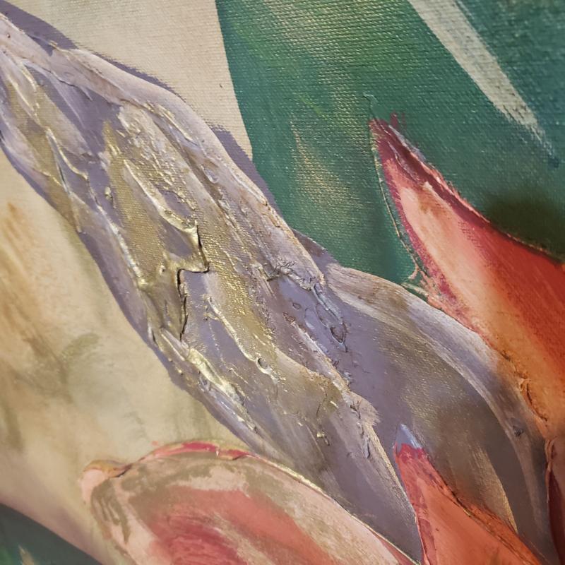 huge Signed Mid Century Painting - framed Lee reynolds - southern flowers - Vanguard studios - canvas painting
