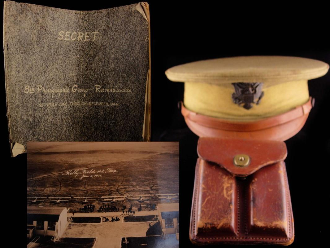 1944 WW11 military lot with history - 8th photographic book - Bally Seaplane Base - Airforce hat