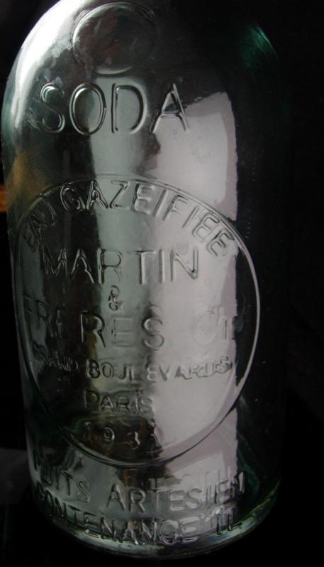 Antique French Bottle - seltzer soda Bottle - 1930's Paris Barware - Wedding party gift novelty - Bartender gift