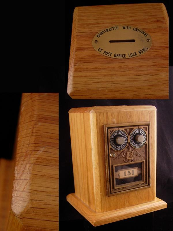 vintage post box / wood  box /  Coin combination bank / original paperwork - victorian US Post Office  BANK Wallstreet  banker gift
