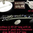 FABULOUS star signed Ali Khan necklace - signed statement Michal Golan brooch - 31