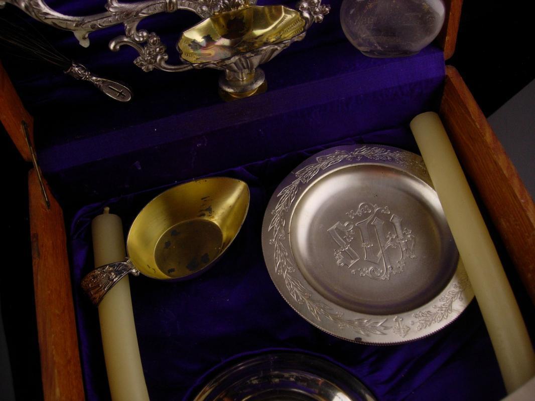 Antique sick call Box - Last rites case - religious candelabra - Vintage shrine wood box - catholic priest spiritual box