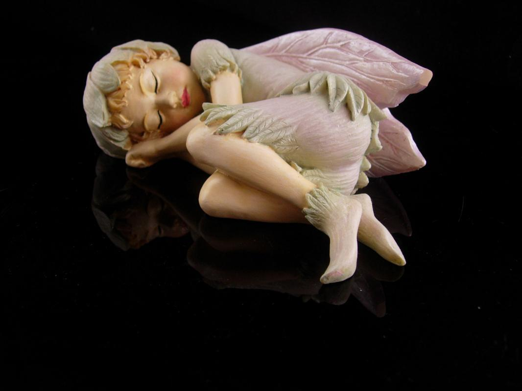 Sleeping Fairy figurine - folk art nymph - winged pixie - garden fairy - gift for her - mystical girl - spirit statue - anniversary gift