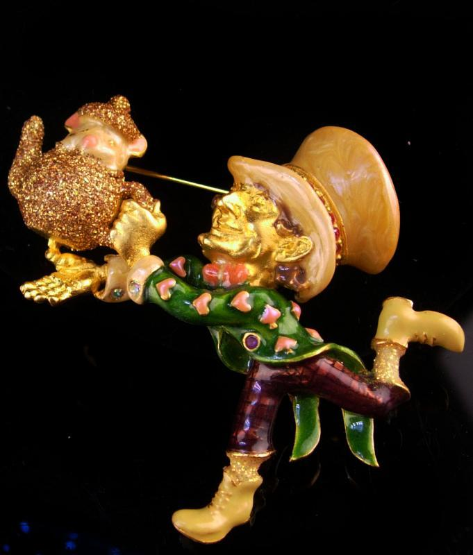 Large Mad Hatter brooch - Kirks Folly - Vintage Leprechaun pin - rhinestone figural pin - spade pot of gold - golden teapot