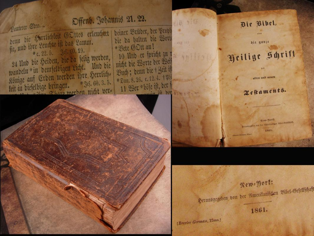 1861 Antique German bible with papers inside - Antique thick religious book - German family register - Rirchendior