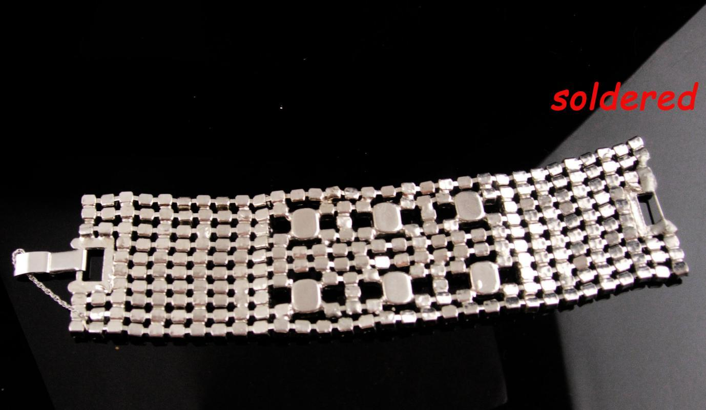 Fabulous deco style bracelet - Vintage 10 row bracelet - BRILLIANT wide Rhinestones - Showstopper  jewelry - bridal bracelet