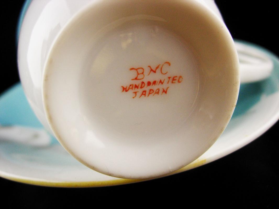 Antique japanese demitasse BNC cup & saucer - turquoise handpainted crane - bird lover - gold leaf - gift for mom - tea cup saucer set