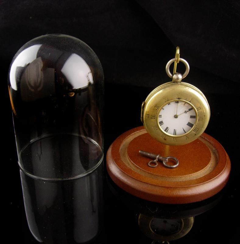 Antique Rubis  Pocketwatch - 800 silver - original glass dome case and key - runs - extra double pocket watch hunter case
