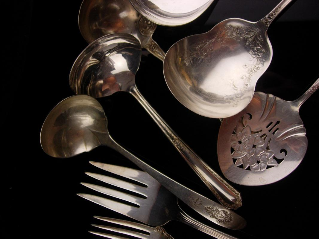 Antique serving silverware lot - 11 pc - large elegant flatware -  forks spoons ladle tomato server - Victorian silverware