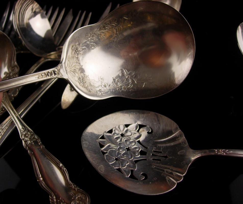 Antique serving silverware lot - 11 pc - large elegant flatware -  forks spoons ladle tomato server - Victorian silverware