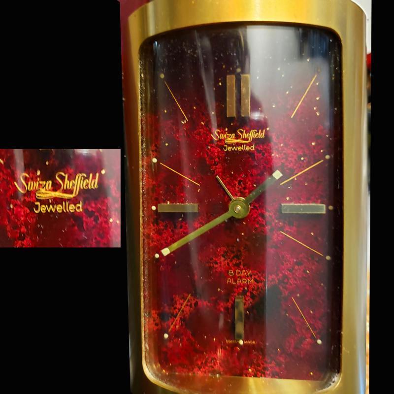 Mid Century Swiza clock - Mid century Modern Sheffield alarm clock - Vintage Cylinder tube desk clock - Wind up table clock