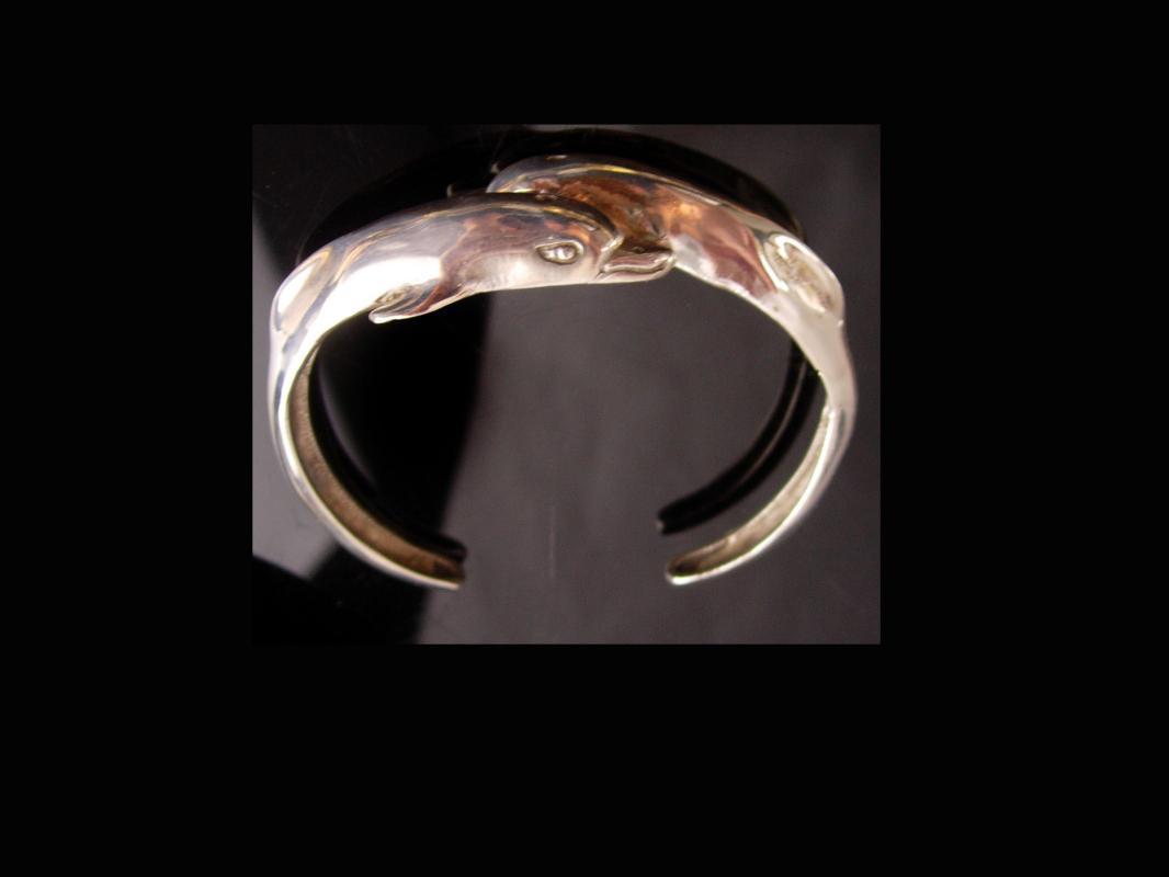 Sterling Dolphin bracelet / Kabana silver cuff bangle - Nautical gift - mythology Porpoise / Constellation star chaser taniwha water spirits