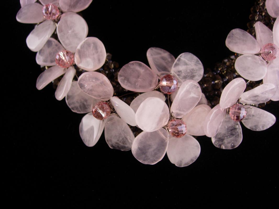 Designer Rose Quartz necklace - smoky quartz choker - Love stone - Vintage wedding necklace - pink flower cluster - couture jewelry