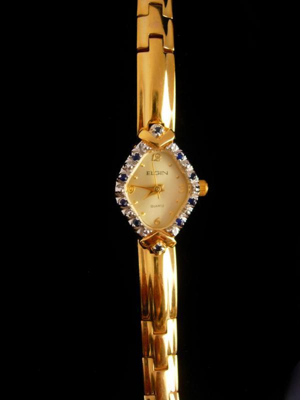 Ladies Sapphire watch - Elgin bracelet watch - 6 1/3