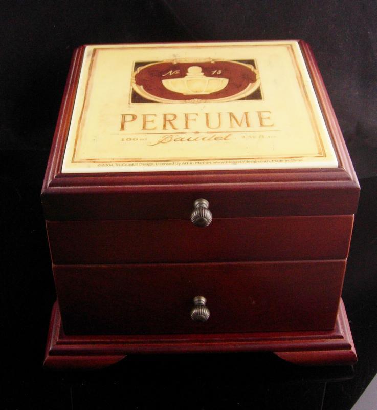Victorian perfume tile box / jewelry box /  velvet lined Trinket box / Vanity box / dresser box with drawer gift for mom
