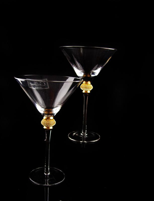 Cellini Crystal cocktail martini set - rhinestone accents - champagne goblets - vintage Italy hand blown fluted glass - wedding gift