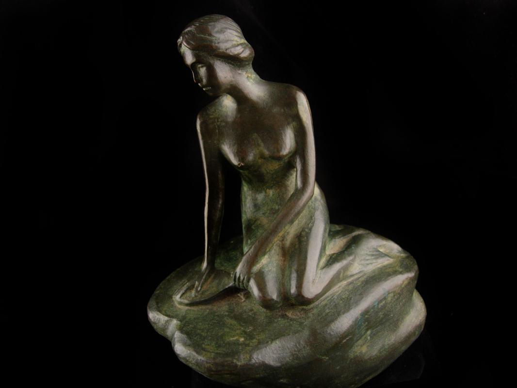 Vintage Bronze Mid Century Modern mermaid sculpture - erotic nude - nautical statue -  Vintage sea goddess