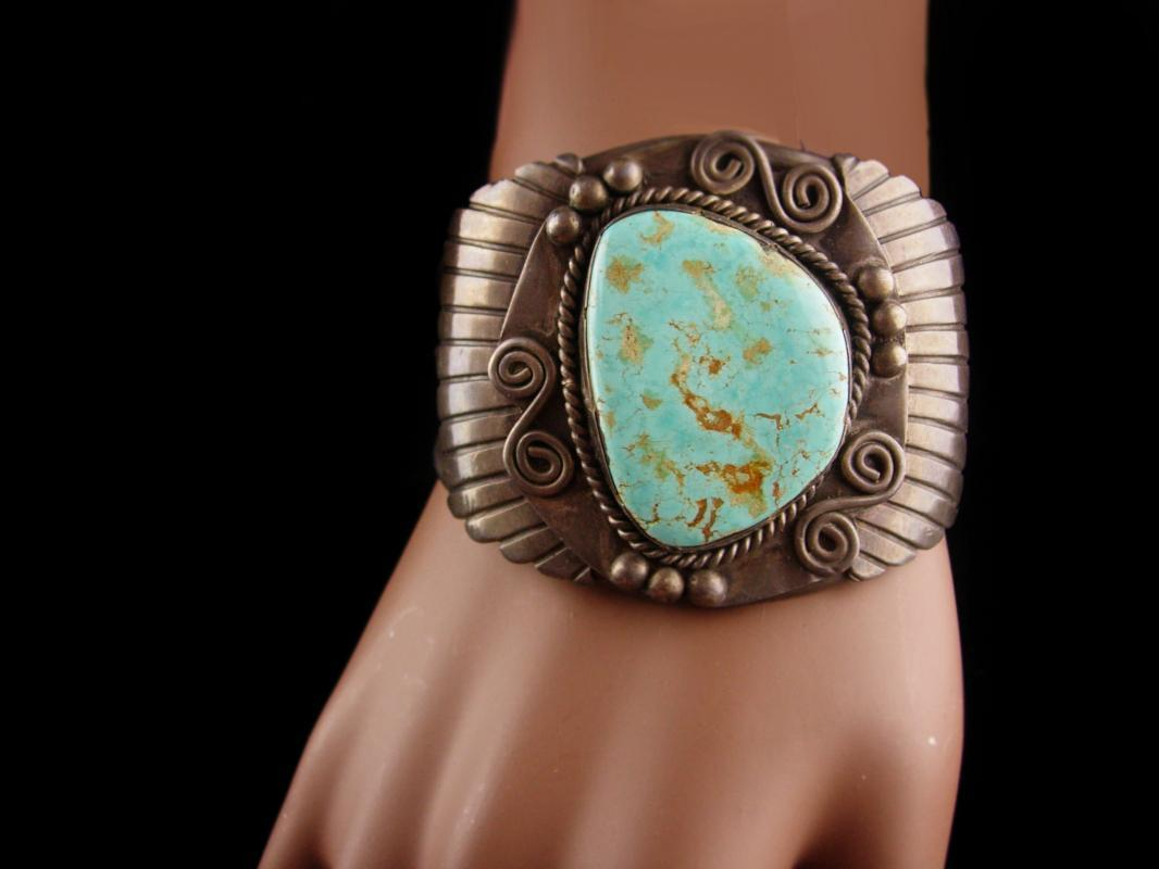Vintage Wide turquoise Sterling Bracelet - Old Pawn Zuni hand signed Cuff - turquoise jewelry - Kilgore Mexico - statement bracelet