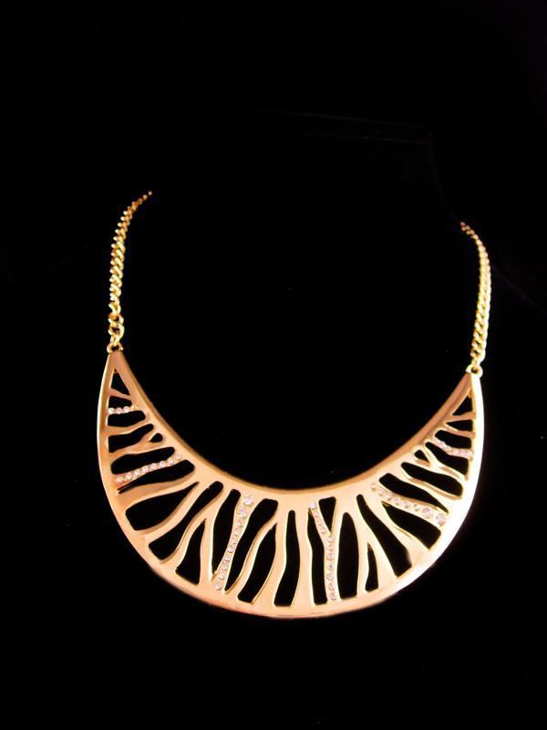 Dramatic rhinestone Necklace - modernist collar - unsigned vintage jewelry - golden bib necklace - designer jewelry