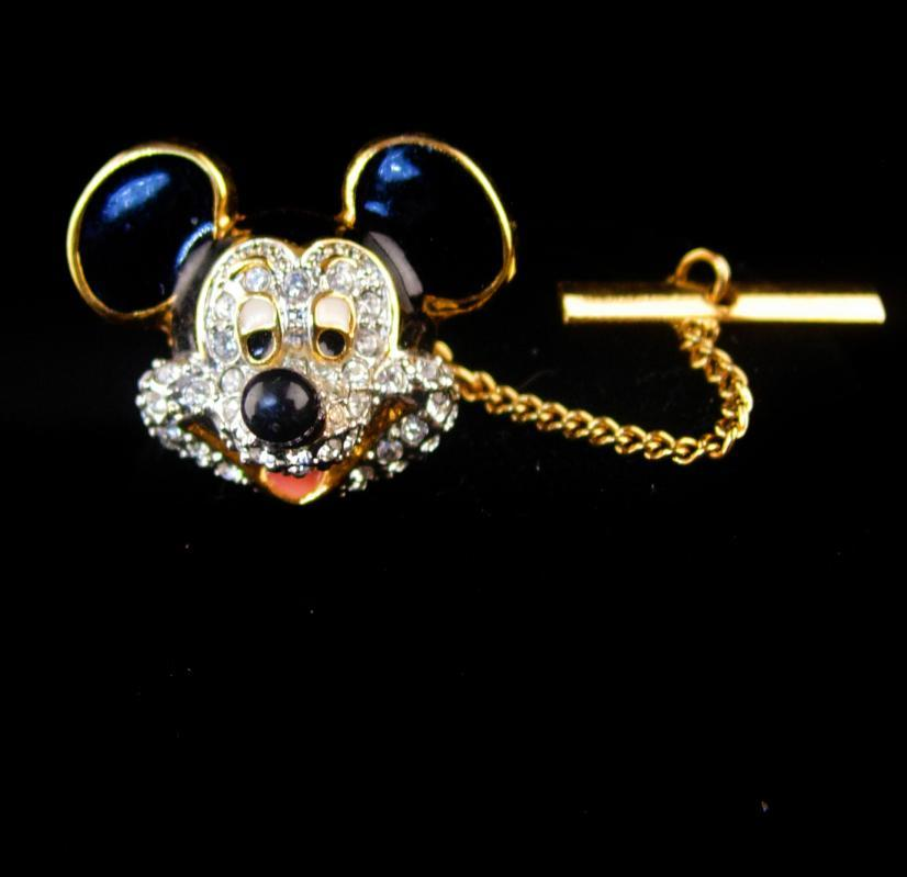 mouse enamel tie tack with chain - rhinestone mickey mouse pin - black and golden tie accessory - estate jewelry - birthday for him