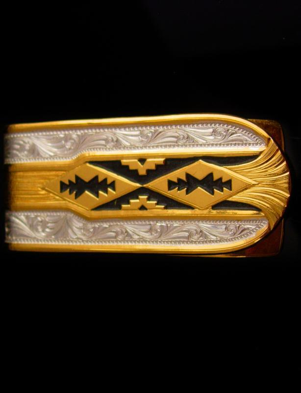 Southwestern money clip / Vintage spanish damascene design - Grandfather gift / Fathers Day / wedding  gift