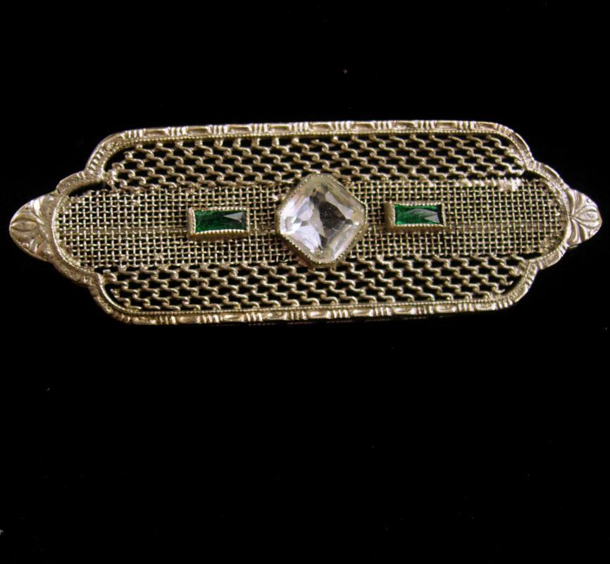 Antique Brooch / Art deco pin / silver filigree brooch / faux emerald stone - Taurus May birthday - anniversary engagement - Irish wedding