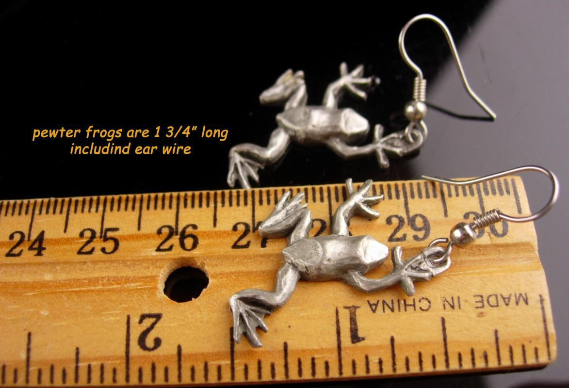 Kiss a FROG Earrings / Vintage signed Sisk pewter - fairytale Toad / whimsical womens gift / pierced novelty prince charming fairy tale set