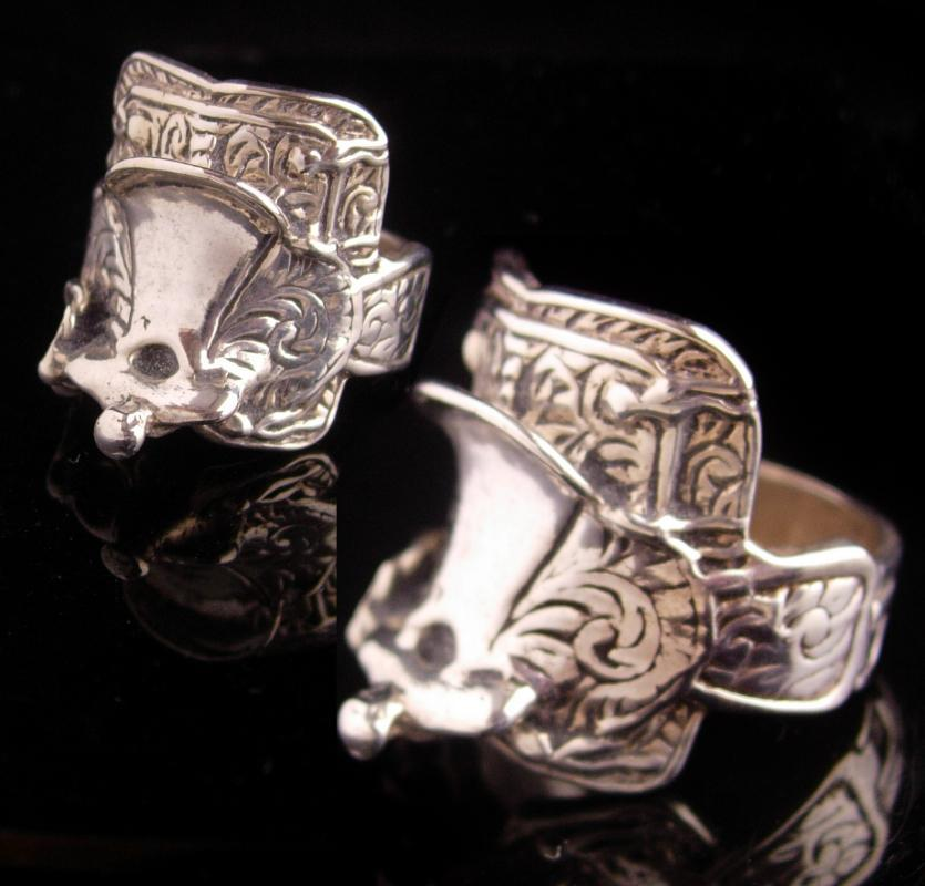 Vintage Western Saddle Ring - heavy sterling cowboy cowgirl ring - Size 10 3/4 -  silver Stirrups Cowboy Rancher  - southwestern jewelry