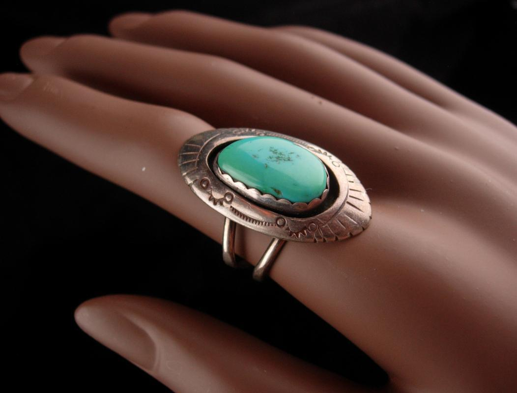 LONG Turquoise southwestern Ring - Vintage tsosie Navajo sterling silver Size 7 - Women's 5th & 11th Anniversary - native american design