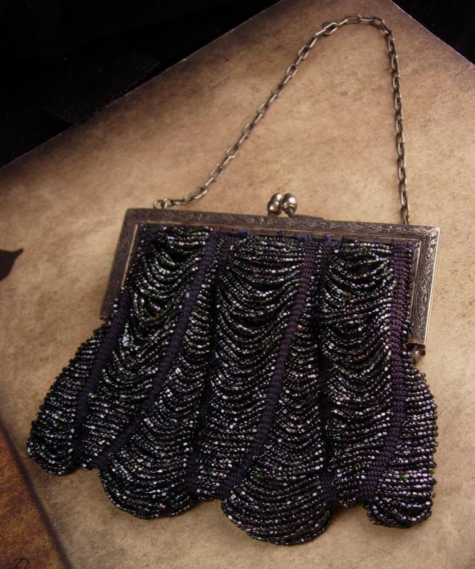 Antique Flapper purse / vintage iridescent black beads - evening bag - victorian swag purse