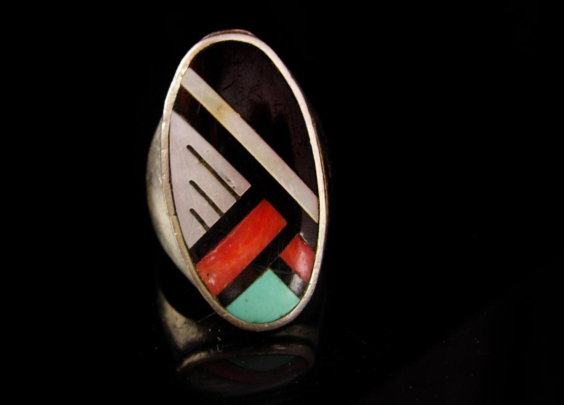 Indian Ring Big - sterling BIG size 13 - mosaic Large setting - geometric design - Turquoise onyx goldstone mother of pearl