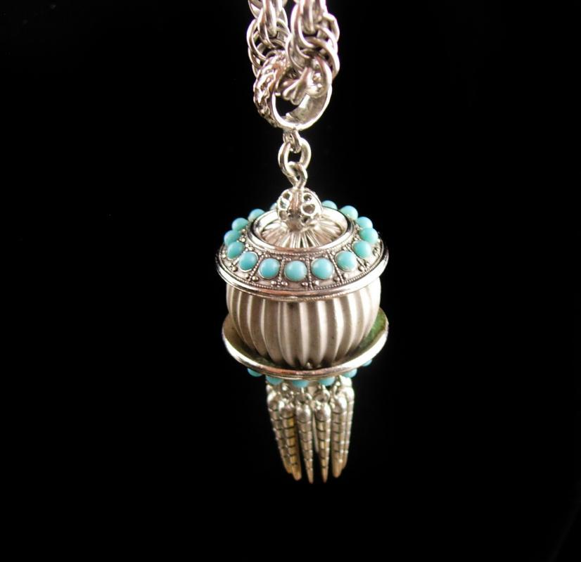 Exotic Tassel Necklace - turquoise tassel glass dangle drop - bellydance Gypsy necklace - Egyptian pendant