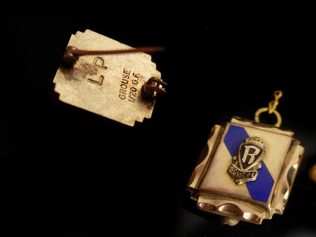 1963 Gold filled School pin - graduation gift - R School - university Lapel  PIN - College University Club high school award