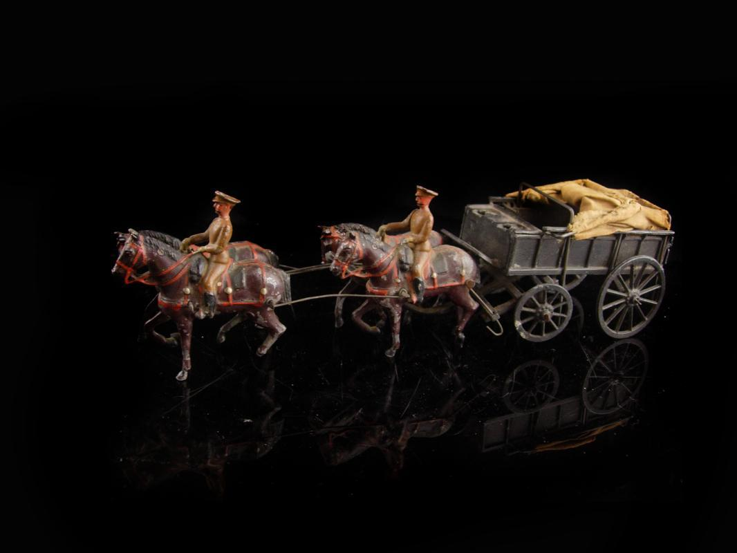 Antique lead toy soldiers and wagon - Britains LTD - military covered wagon - British soldier lead toys -