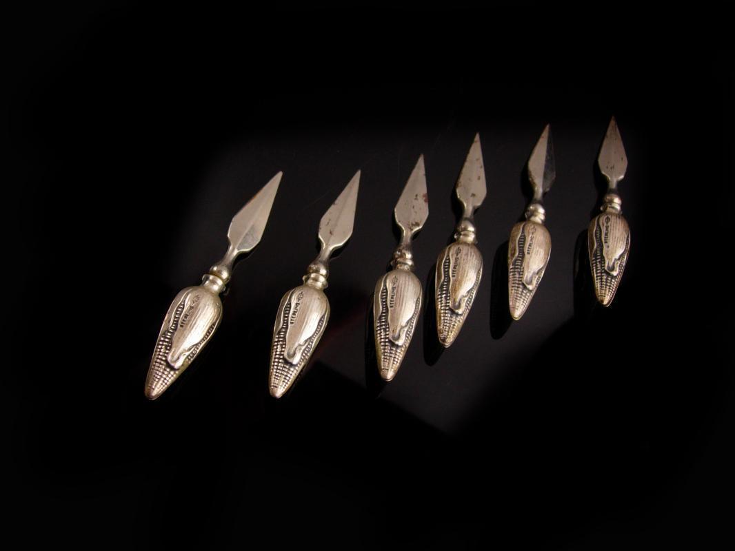 Antique Corn Cob holders - Victorian hallmarked set of six - art nouveau design - vintage silver corn holders - victorian tableware