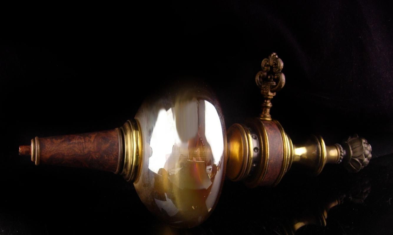 Gothic lamp base with key - Vintage carnival glass - iridescent globe - architectural salvage - key lamp part