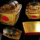 Nephrititi Egyptian Scarab 24kt Gilt box - Egyptian Revival - art deco raised relief - vintage jewelry Dresser coffin ox