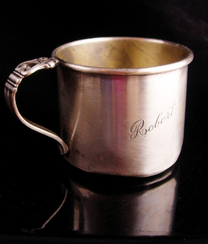 Vintage sterling Baby cup - Engraved Robert baby gift - Danish sterling - childs Cup - silver mug with handle