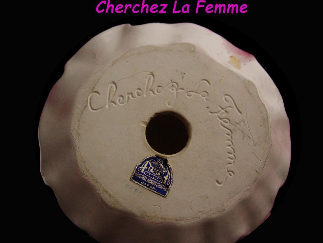 Cherchez La Femme Figurine - victorian girl with flowers - Arnart Japan - pink porcelain woman statue