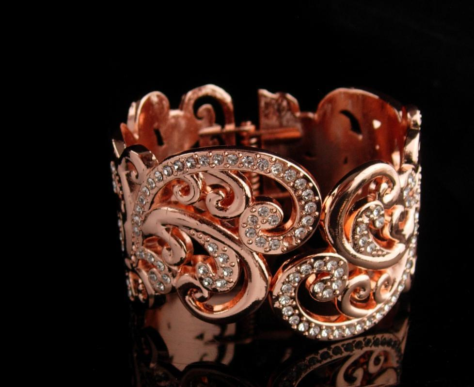 Couture Rhinestone Bracelet - Wide clamper hinged bangle - rose gold plate - high end jewelry 100 rhinestones - gift for her