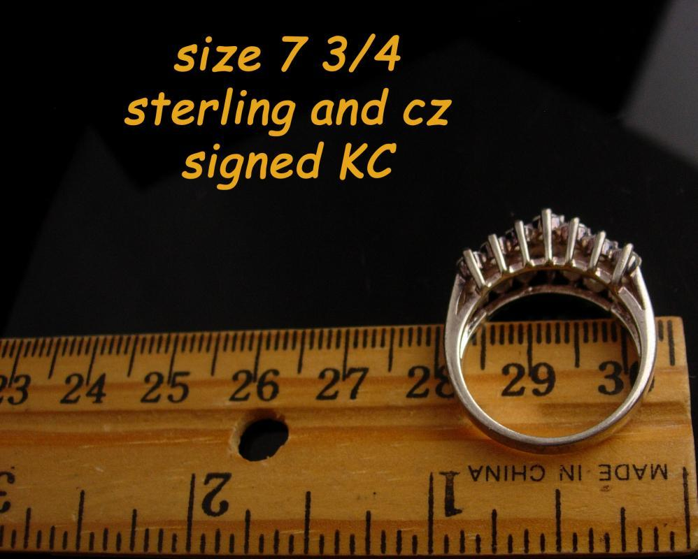 Vintage Sterling Engagement Ring - brilliant cz crown top ring - Sparkling Wedding Sterling silver Size 7 3/4 Anniversary womens  jewelry