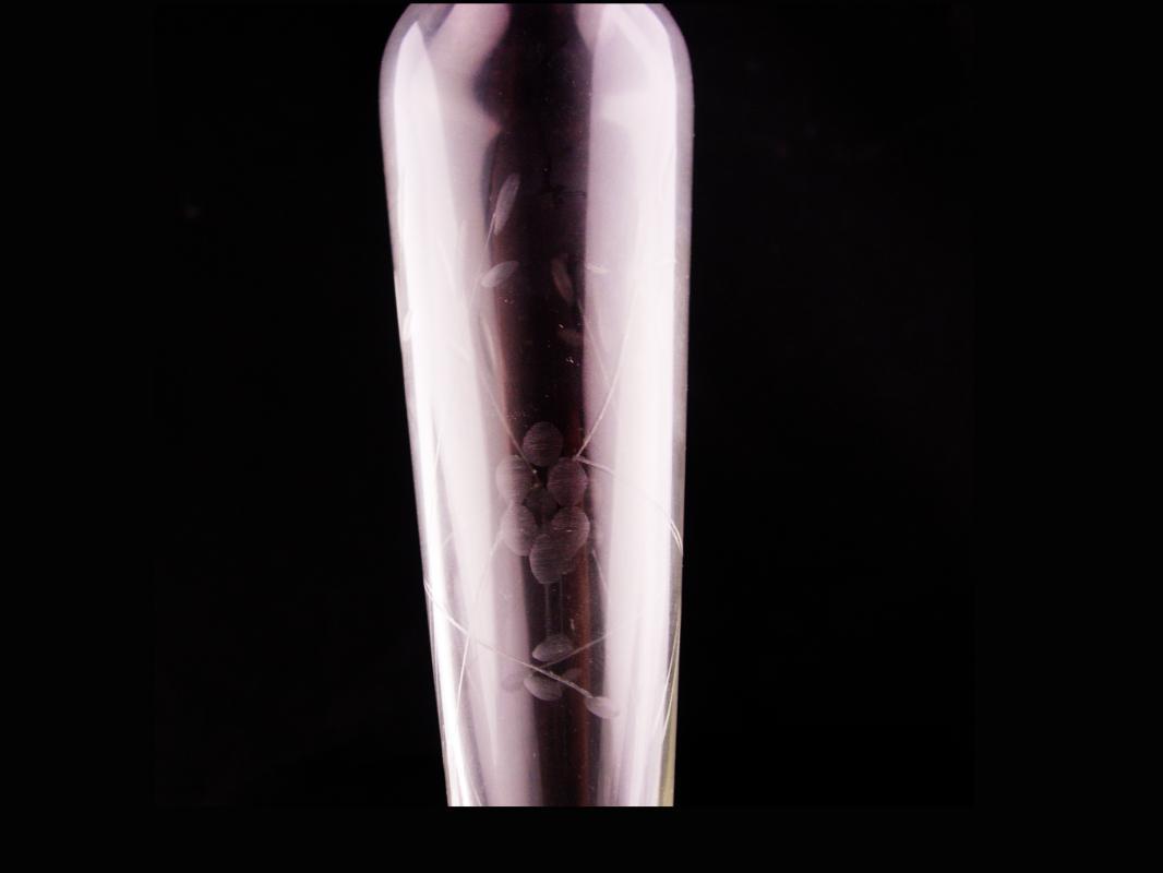 Vintage sterling Vase - Etched glass bud vase - wedding vase - duchin sterling silver - anniversary gift