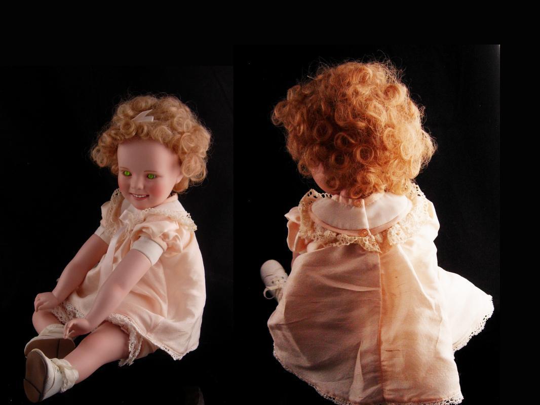 Haunted Vintage Shirley Temple Doll - scary green eyes - 1996 MBI porcelain doll - rare creepy eye doll