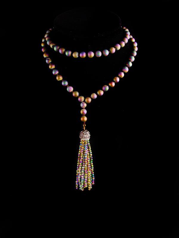 FABULOUS Flapper Geode purple tassel necklace - 30