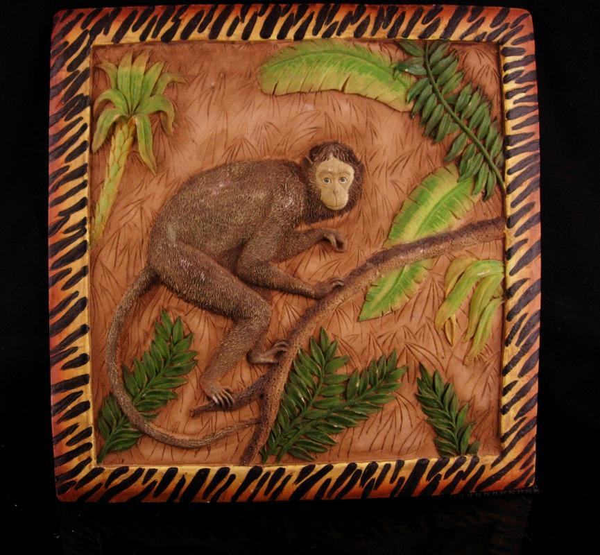 Vintage Monkey tile - hanging pottery monkey - whimsical jungle  gift- year of the monkey - raised relief dimensional
