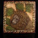 Vintage lion tile - hanging pottery lion plaque - safari jungle  gift- raised relief dimensional lion