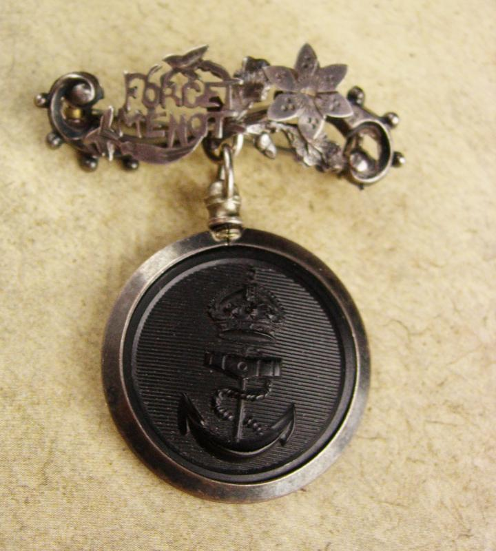 Vintage Forget me not brooch - navy anchor pin - mourning jewelry - keepsake gift -  Victorian watch fob pin - chatelaine lapel pin