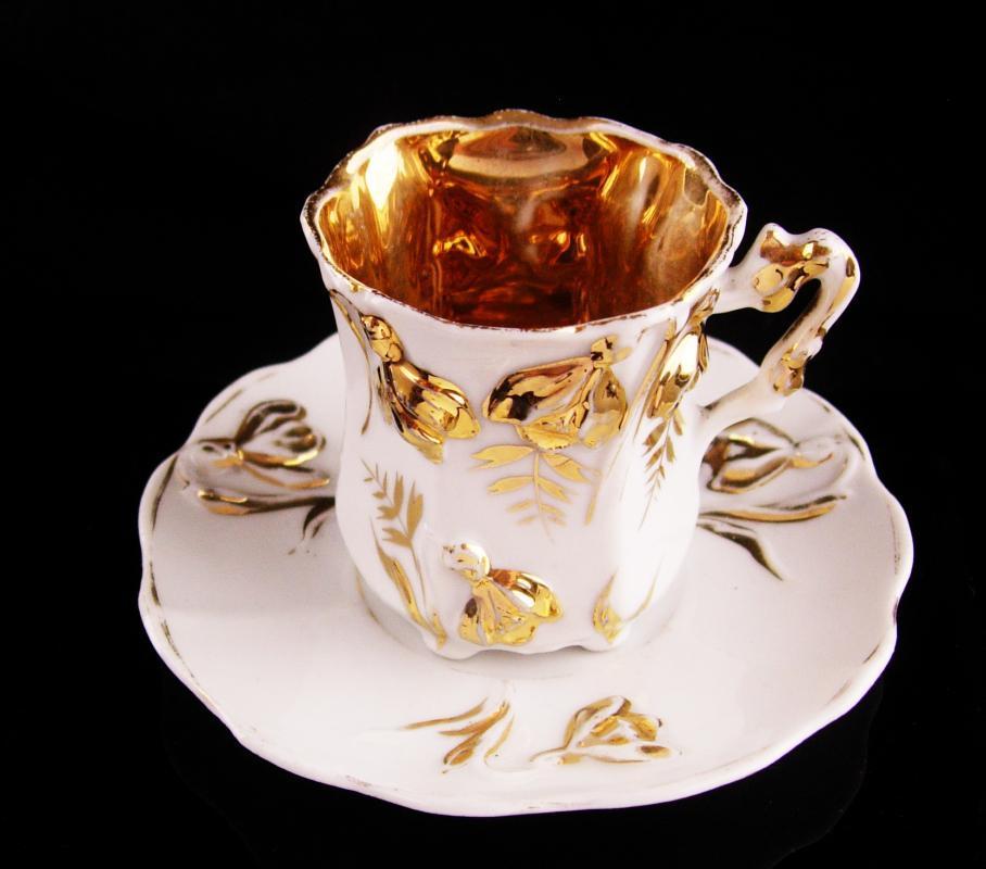 Vintage gold Demitasse teacup saucer - 24kt gold hand painted - bell flowers - gold leaf - gift for mom - tea cup saucer set