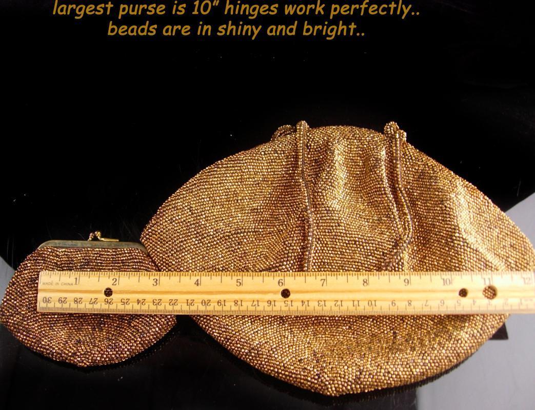 Copper gold Flapper purse / vintage change purse - thousands of beads - evening bag - victorian clutch